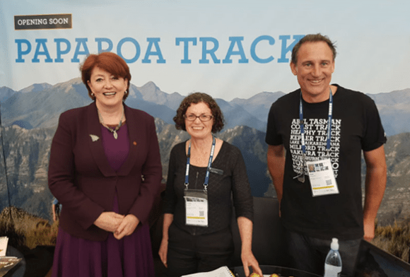 Minister of Conservation Maggie Barry with Trisha Dwyer and Ross Shearer (from DOC) at TRENZ.