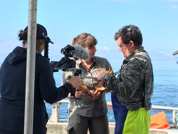 Nic Toki learns about crayfish from Jamie