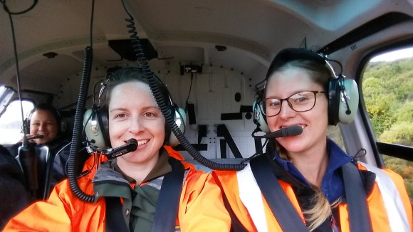 DOC Rangers Kelly Eaton and Jemma Welch embarking on the fifth and final translocation of korure from Whenua Hou to the Maungaharuru Range.