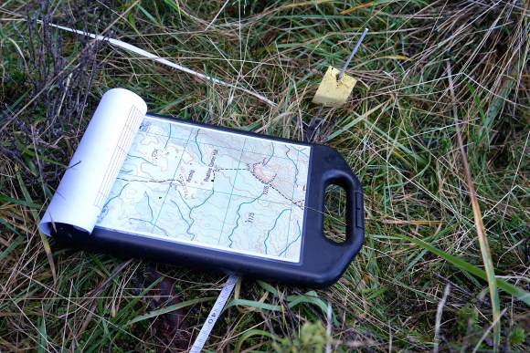 Map and plot marker. Photo: Anthony Behrens.