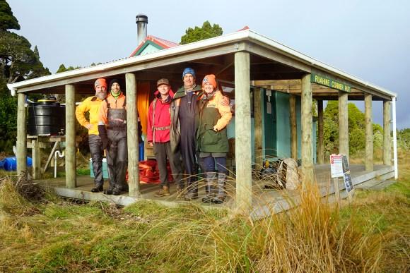 Powelliphanta snail hunters Ruahine Corner Hut. Photo: Anthony Behrens.