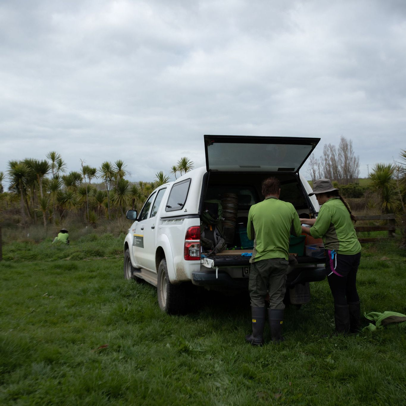 Rangers getting ready to search for black mudfish in a Waikato peat lake.