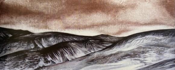 Angela Newport, Whiskey Creek (Macquarie Island), oil and graphite on board