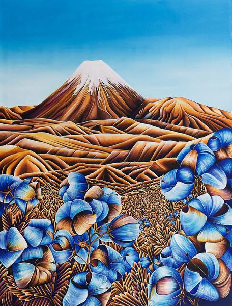 Ginney Deavoll, 'Evening Glow on Ngauruhoe', acrylic on canvas