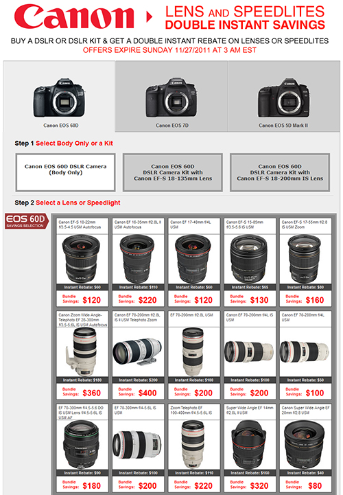 Black Friday Canon dslr camera 60D 7D 5D speedlite flash lens rebate sale