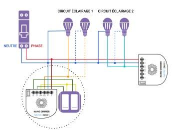Schéma de câblage du Nano Dimmer d'Aeotec dans une installation avec neutre
