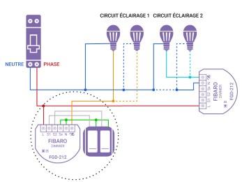 Schéma de câblage du FGD-212 de Fibaro dans une installation sans neutre