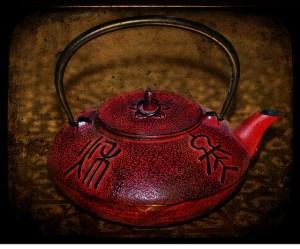 Short, Red, Cast Iron Teapot