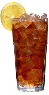 Glass of iced tea with lemon.