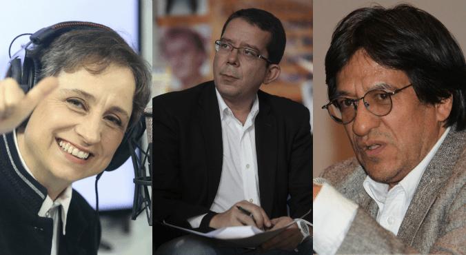 Aristegui, Villamil, Julio Astillero y otros colegas. Foto Cuartoscuro