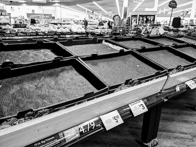 San Jose, California: Empty grocery store shelves, by Travis Wise