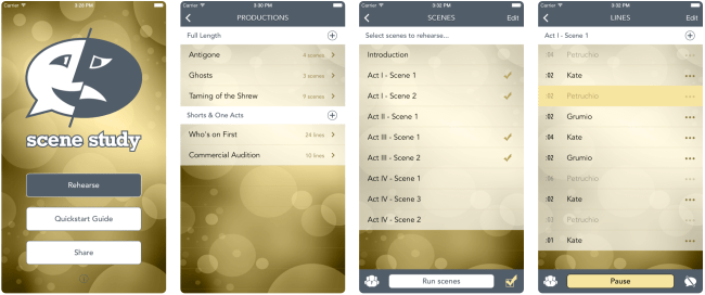 Scene Study - Mobile App for Actors