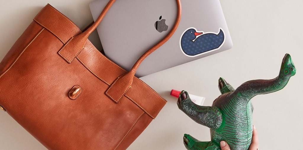 florentine leather tote with laptop