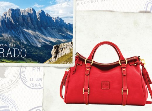Summer Fun Sale postcards depicting Colorado and the Florentine Medium Satchel
