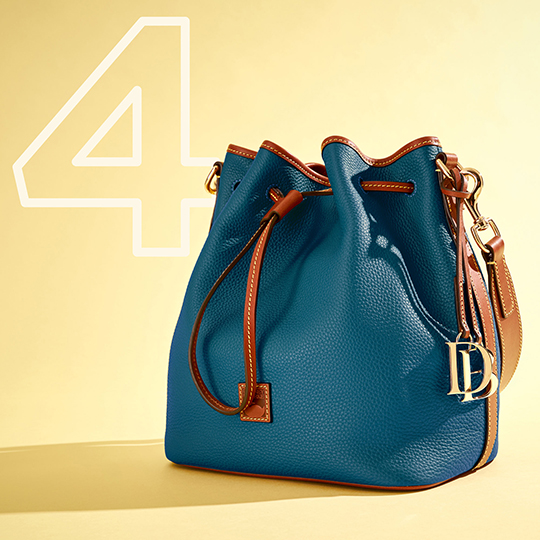 The Pebble Grain Drawstring in blue,  one of our top five bags of 2020.