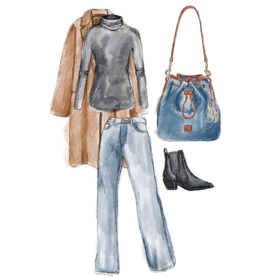 A sketch of a timeless outfit to wear with the Pebble Grain Collection, featuring a drawstring bag, a turtleneck, booties, jeans, and an overcoat.