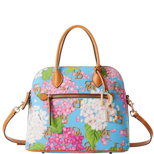 The Domed Satchel with a hydrangea print.