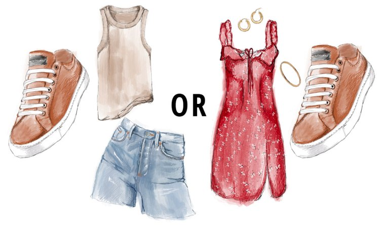 A sketch showing two different ways to wear a leather lace-up sneaker: a tank top and denim shorts, or a red dress.