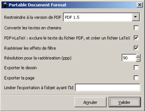 "Option ""PDF+LaTeX"" cochée"