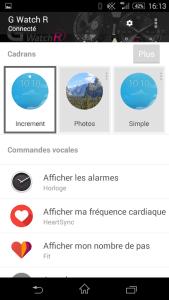 Paramétrage de la connexion avec la montre depuis Android Wear