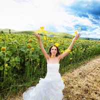 fotografii cu mireasa floarea soarelui
