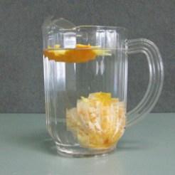 Sinking orange without skin