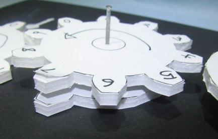 Foam gears with numbers written on them