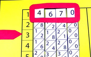 four strips of paper with numbers on them. The top number on each strip is highlighted - 4, 6, 7, 0