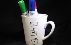 Three factories drawn on a white mug.