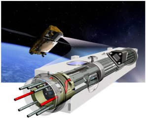 Artists impression of an atomic clock for space missions.