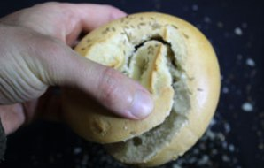 A bagel cut with a spiral-like cut.
