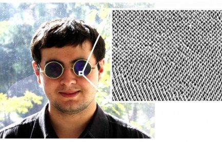 A man wearing sunglasses. There is a zoom box indicating the sunglasses are covered in tiny cones.