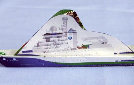 A paper model of a ship.