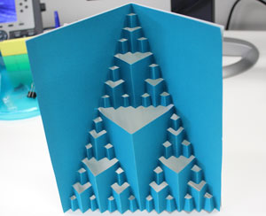 A pop-up card with triangles made of triangles.