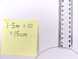 1.5 metres / 10 = 15 centimetres.