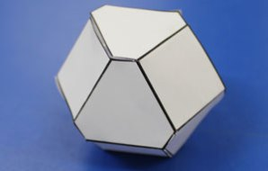 The completed dice shape - with hexagon and square faces.