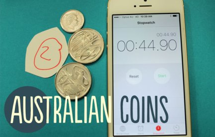 there are 47 cents in australian coins on the table. a timer says 45 seconds.
