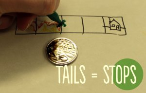 a coin showing tails and someone drawing an x