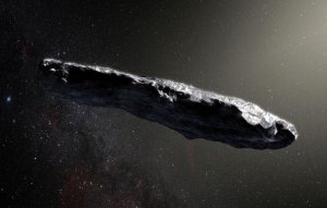 Image of a very large rock travelling through space.