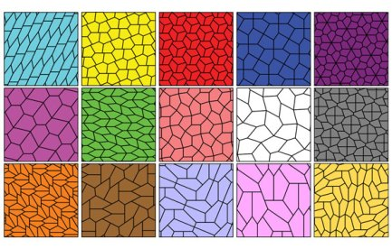Image of a grid, each square is a differrent colour and divided up by different shaped pentagons.