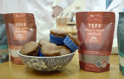 Image of a bowl of muffins and some bags labeled Teff