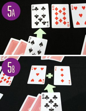 In the top image, someone is matching a seven in their hand to a seven on the table. in the bottom picture, someone is matching an eight in their and to a three and a five on the table.