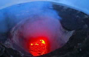 Image of hot lava in the crater of a volcano.