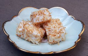 Small plate of coconut covered marshmallows