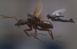 Image of Ant-Man riding the flying ant and The Wasp flying beside.