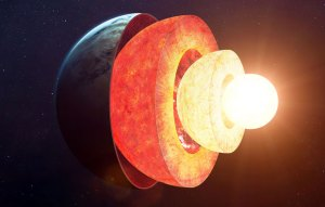 Image of half a planet with three central glowing layers. The Earth's core being the brightest.