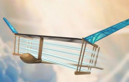 Futuristic glider plane with blue wings.