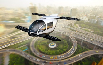 Artists impression of a flying car above a city scape.