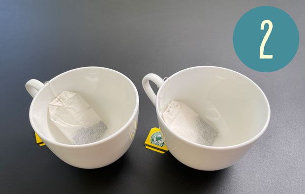 two teacups with teabags in them