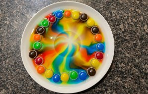 Plate with colourful lollies around the circumference and rainbow pattern in the centre.